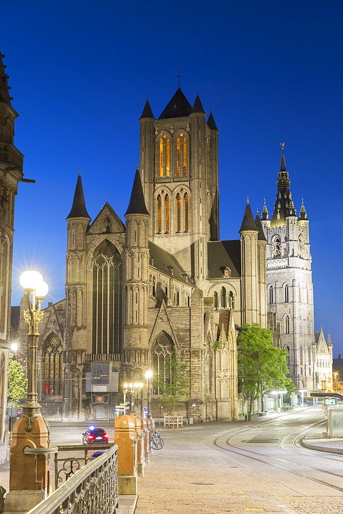 St. Nicholas Church at dusk, Ghent, Flanders, Belgium, Europe