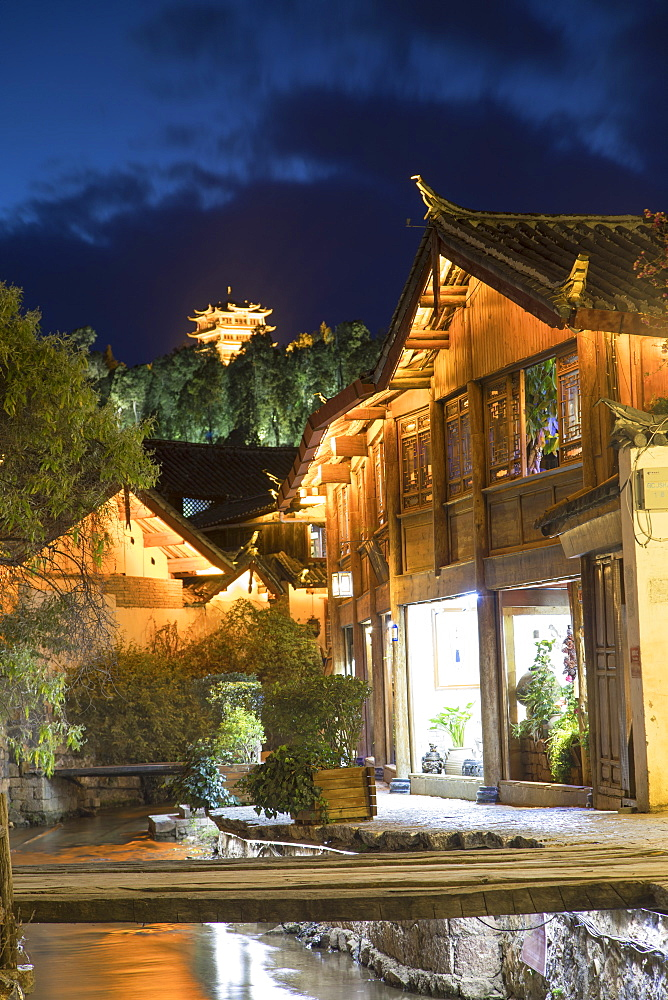 Canalside buildings at dusk, Lijiang, UNESCO World Heritage Site, Yunnan, China, Asia - 800-2974