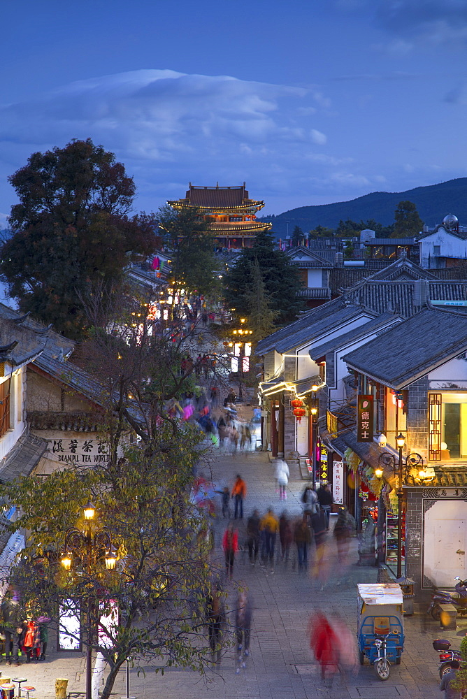 View of Dali at dusk, Yunnan, China, Asia - 800-2993
