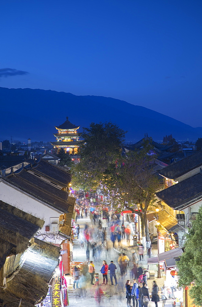 View of Dali at dusk, Yunnan, China, Asia - 800-3004