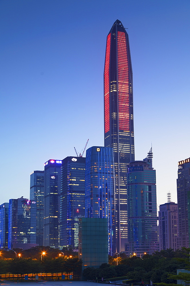 Ping An International Finance Centre, world's fourth tallest building in 2017 at 600m, and Civic Square, Futian, Shenzhen, Guangdong, China, Asia - 800-3027