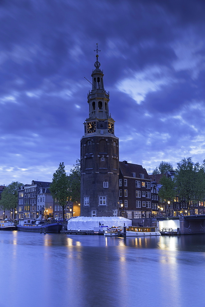 Montelbaan Tower at dusk, Amsterdam, Netherlands, Europe