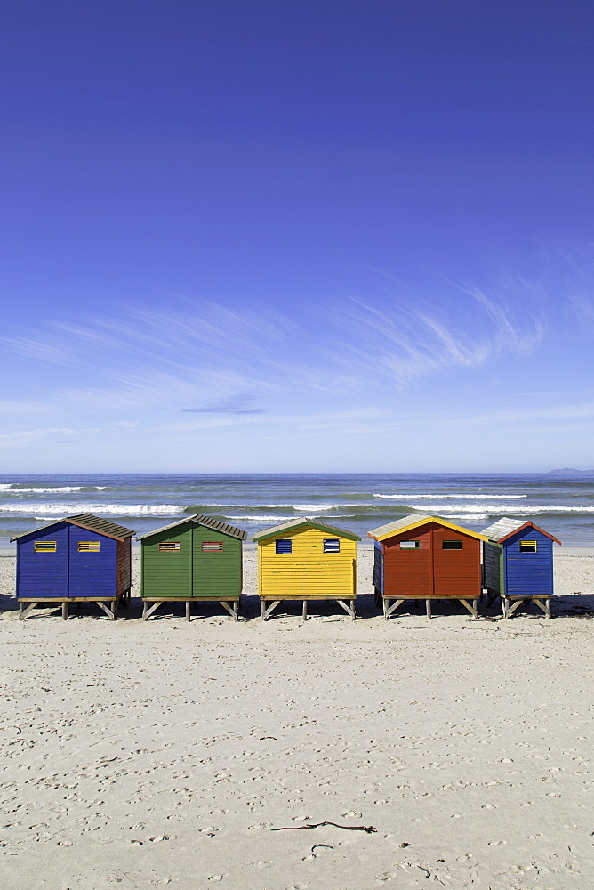 Beach huts on Muizenburg beach, Cape Town, Western Cape, South Africa - 800-3205