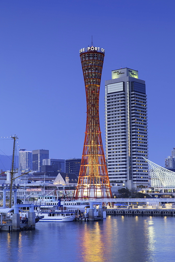 Port Tower at dusk, Kobe, Kansai, Japan, Asia