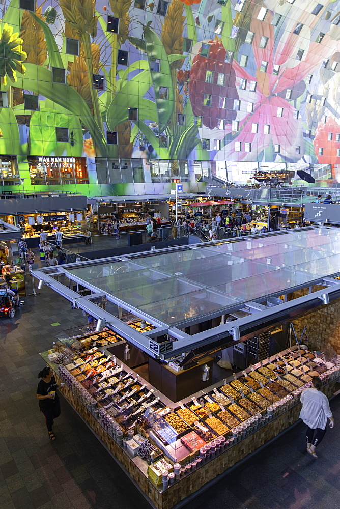 Food market inside Markthal, Rotterdam, Zuid Holland, Netherlands - 800-3551
