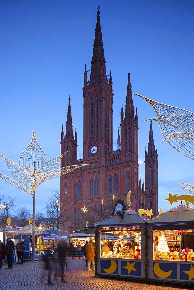 Christmas market and Marktkirche (Market Church) at dusk, Wiesbaden, Hesse, Germany - 800-3679