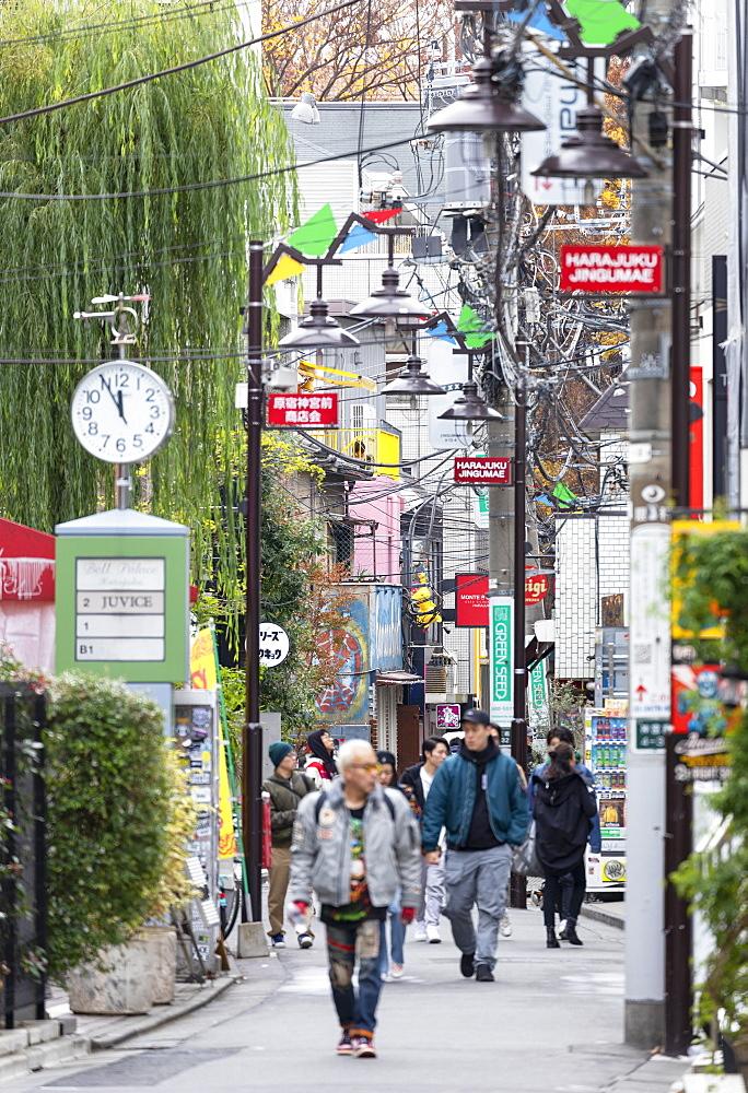 People walking past shops, Harajuku, Tokyo, Honshu, Japan, Asia