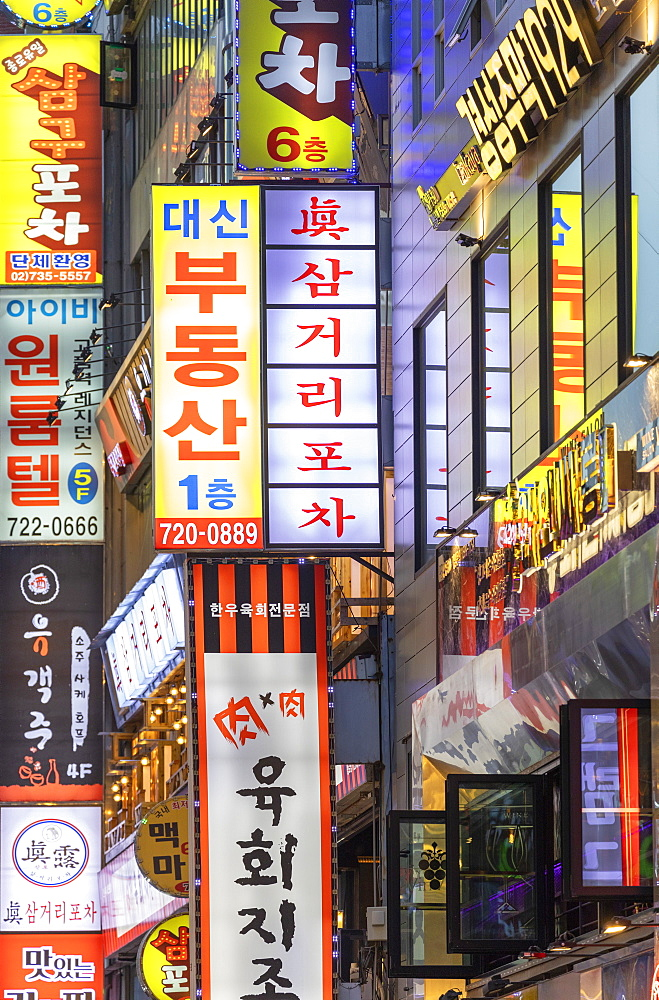 Bar and restaurant signs, Seoul, South Korea, Asia - 800-3829