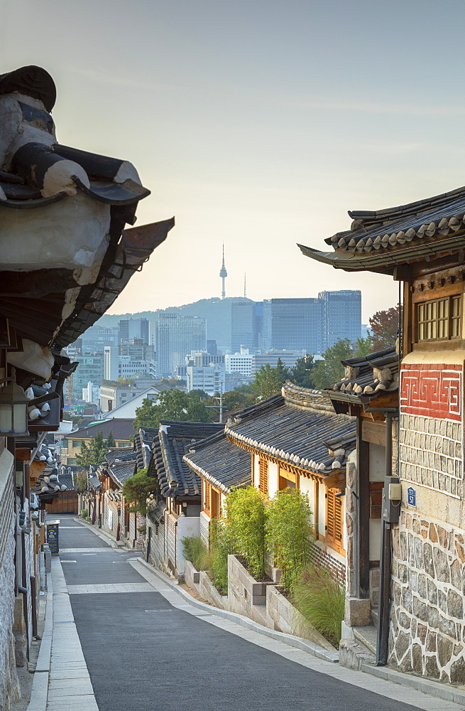 Traditional houses in Bukchon Hanok village at sunrise, Seoul, South Korea, Asia - 800-3863