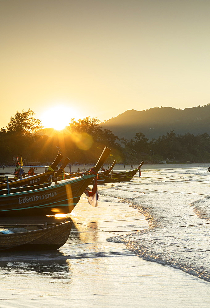 Kata Beach at sunrise, Phuket, Thailand, Southeast Asia, Asia