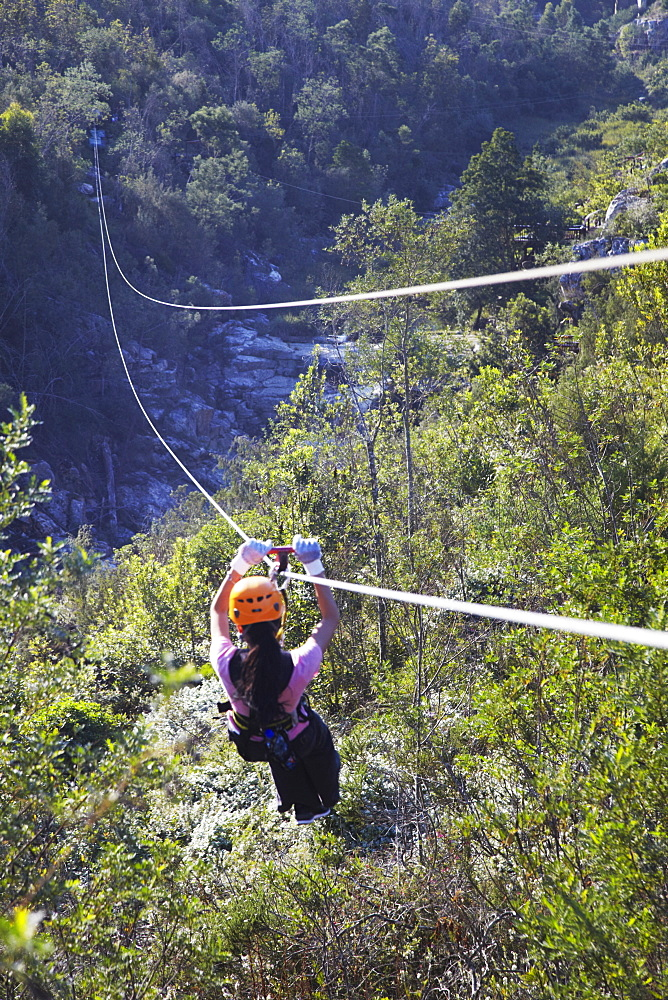 Woman sliding down a zip-line, Storms River, Eastern Cape, South Africa, Africa