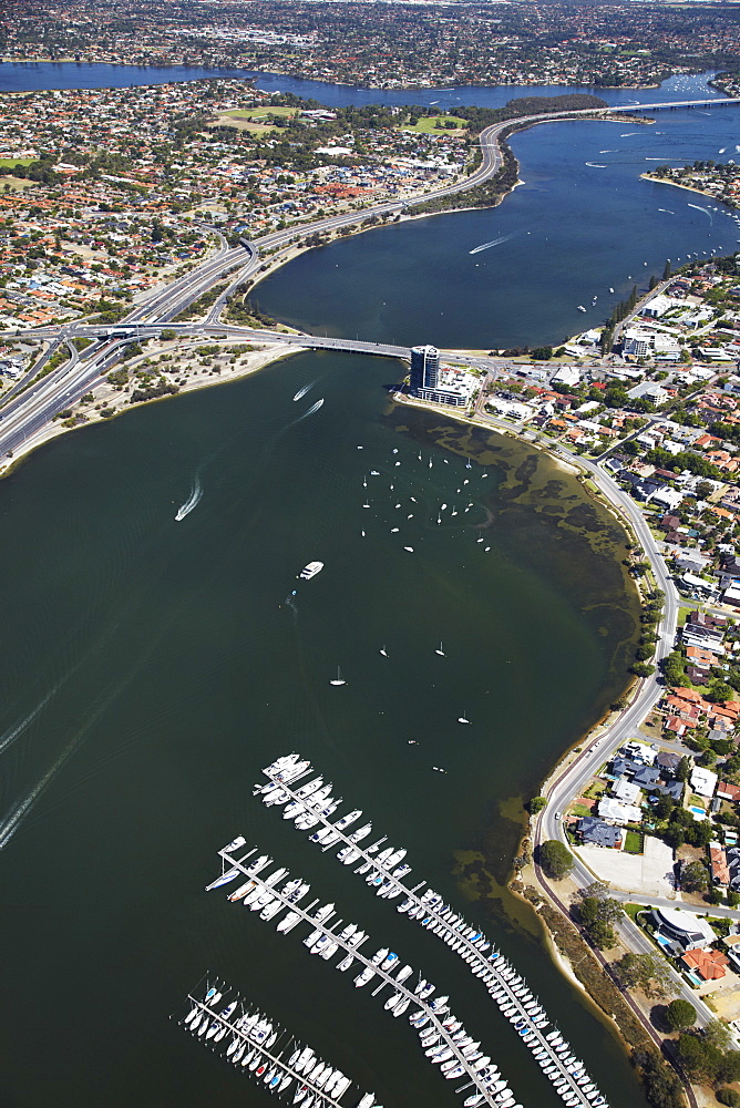 Aerial view of Swan River, Perth, Western Australia, Australia, Pacific