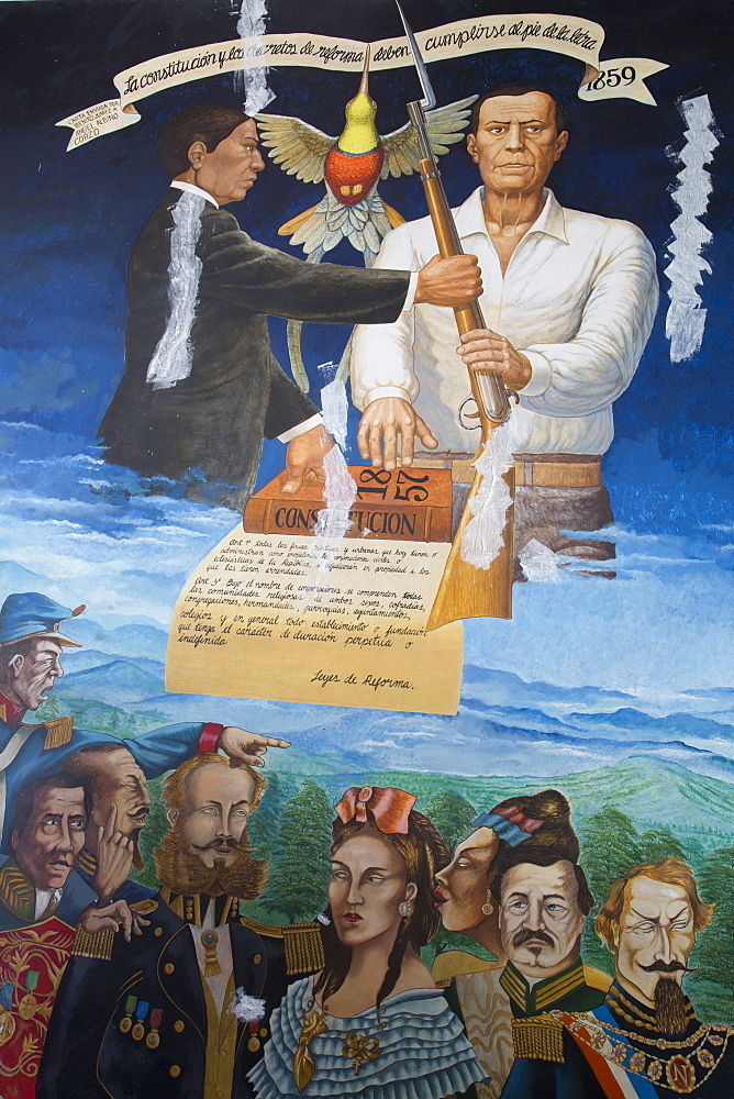 Municipal Building, mural depicting the local history, painted by Manuel Suasnavar Pastrana in 1988, Comitan, Chiapas, Mexico, North America
