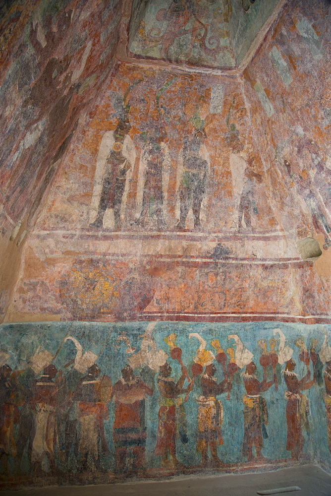 A procession of musicians in the lower panel and Maya nobles attending a ceremony at court in the top panel in Room 1, Temple of Murals, Bonampak Archaeological Zone, Chiapas, Mexico, North America