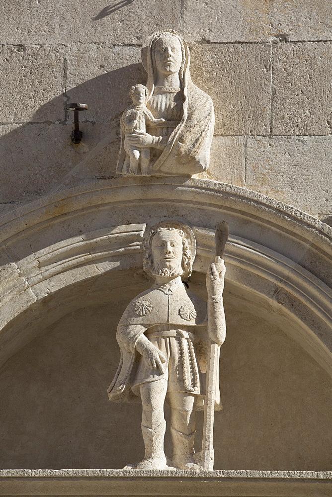 Detail of scupltures, St. Mark's Square, Korcula Town, Korcula Island, Croatia, Europe