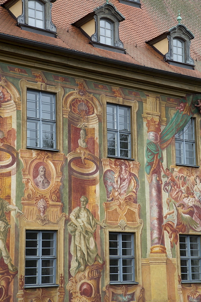 Murals on the Old City Hall (Altes Rathaus), re-built in 1467, painted by Johann Anwandar around 1756, Bamberg, Bavaria, Germany, Europe