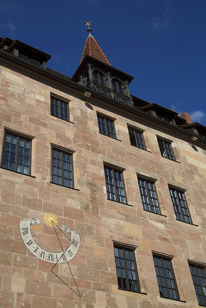 Building with a sun dial, Old Town, Nuremberg, Bavaria, Germany, Europe