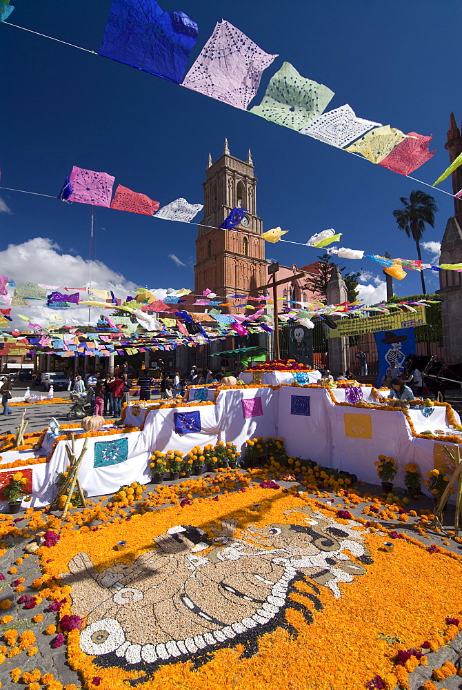 Decorations for the Day of the Dead festival with Iglesia de San Rafael in the background, Plaza Principal, San Miguel de Allende, Guanajuato, Mexico, North America - 801-121