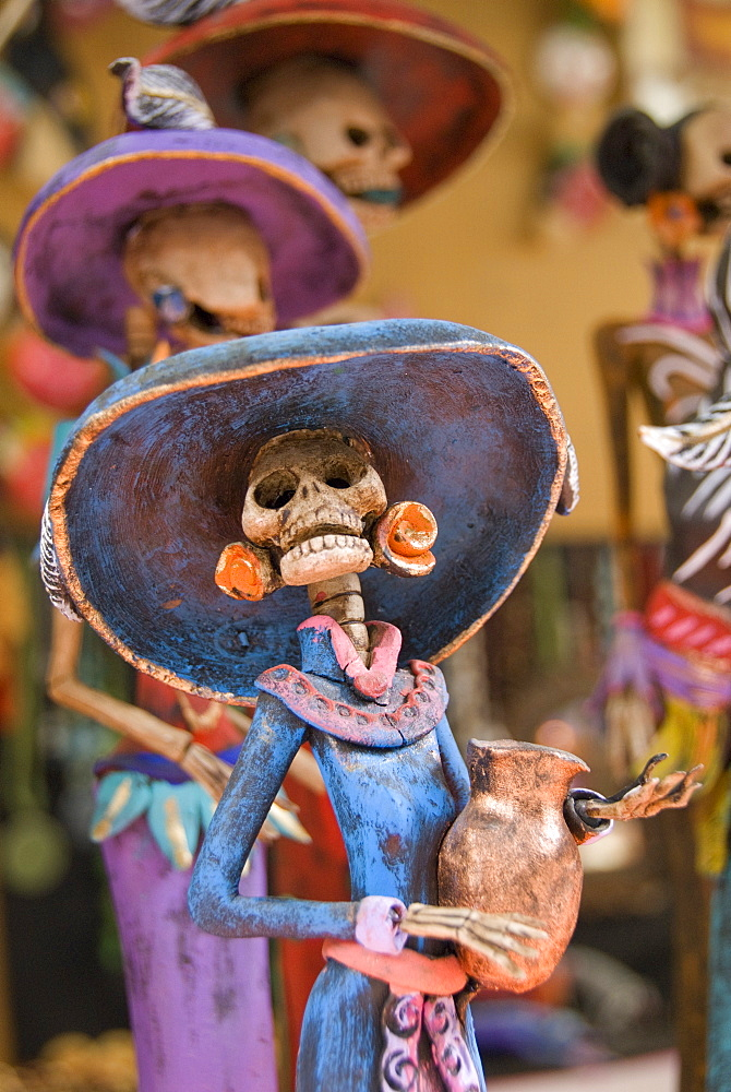 Detail of figurines on sale for the Day of the Dead celebration, San Miguel de Allende, Guanajuato, Mexico, North America - 801-122