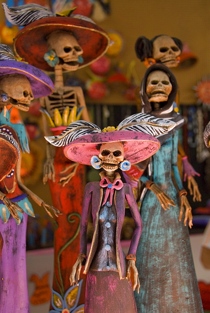 Detail of figurines on sale for the Day of the Dead celebration, San Miguel de Allende, Guanajuato, Mexico, North America - 801-124
