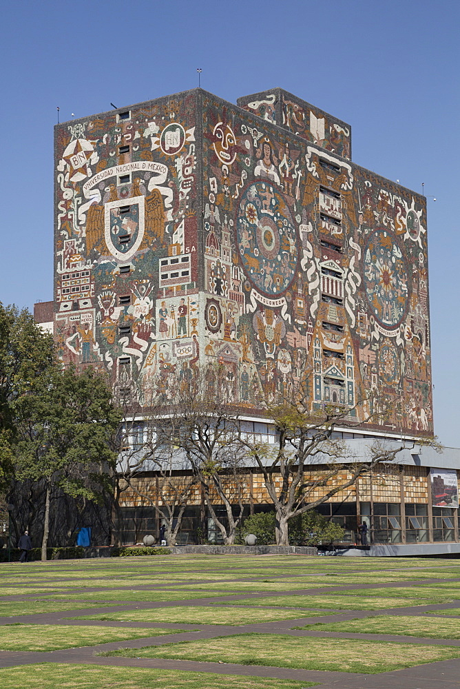 Central Library, tiled fresco by Juan Gorman, National Autonomous University of Mexico, Mexico City, Mexico, North America