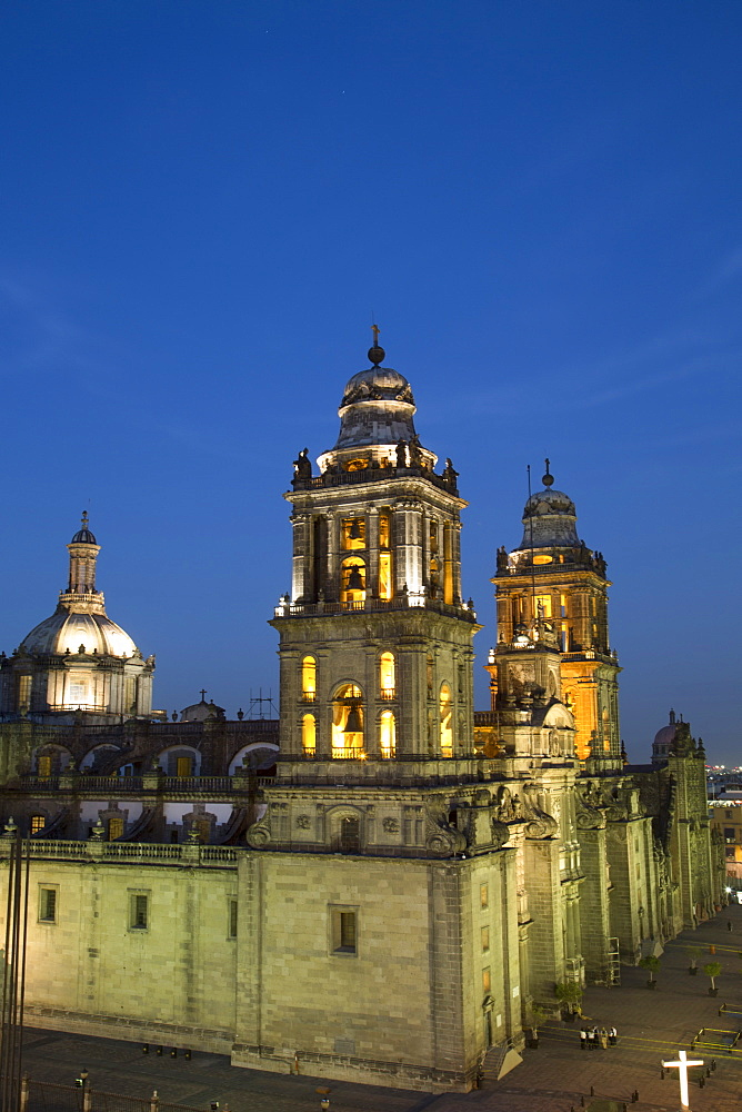 Metropolitan Cathedral in the evening. Mexico City, Mexico, North America