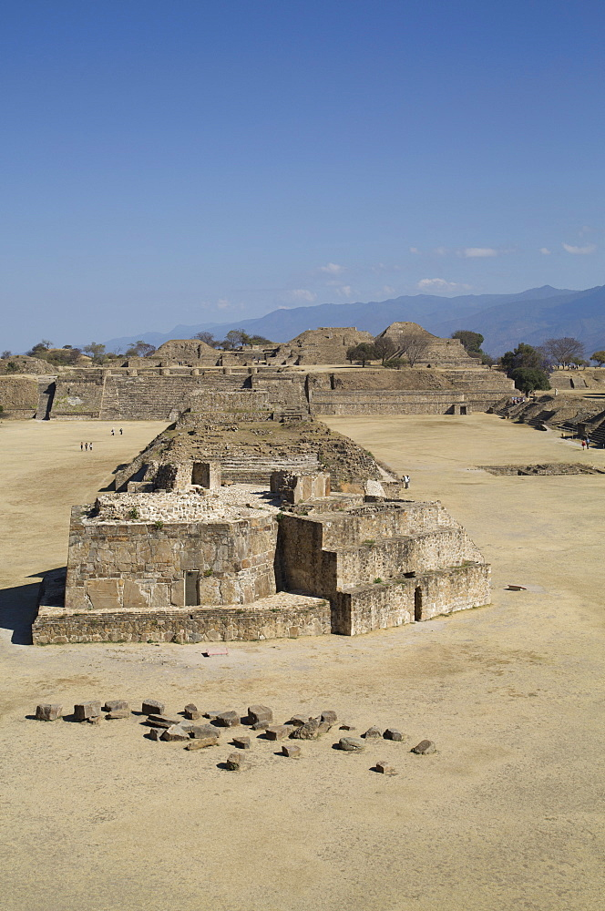 Plaza Principal, view from the Southern Platform, Buiding J, Observatory in foreground, Monte Alban, UNESCO World Heritage Site, Oaxaca, Mexico, North America