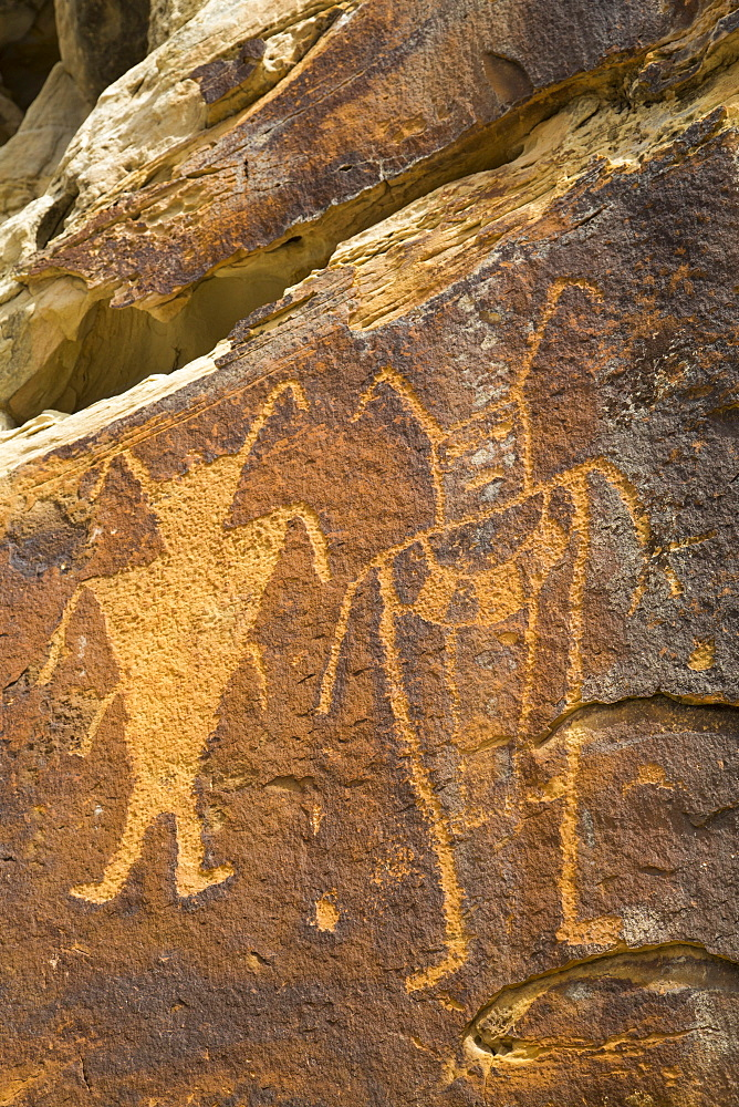 McKee Spring Petroglyphs, Fremont Style, from AD 700 to AD 1200, Dinosaur National Monument, Utah, United States of America, North America