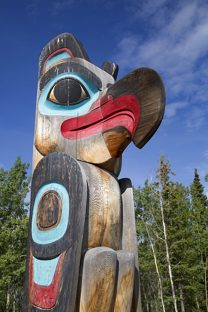 Eagle image on Totem Pole, Teslin Tlingit Heritage Center, Teslin, Yukon, Canada, North America