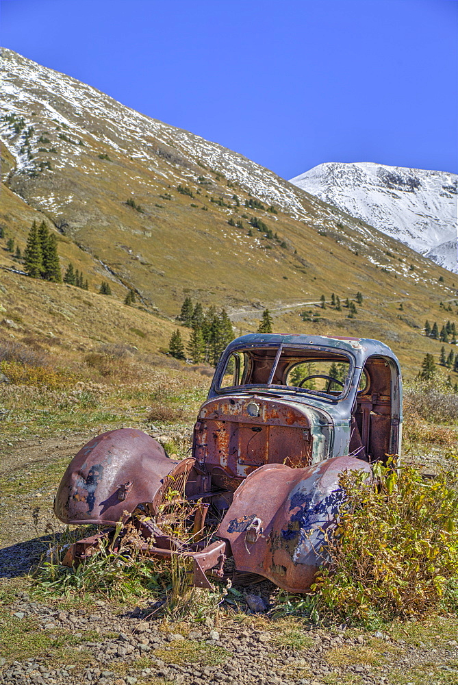 Abandoned truck, Animas Forks Mine ruins, Animas Forks, Colorado, United States of America, North America