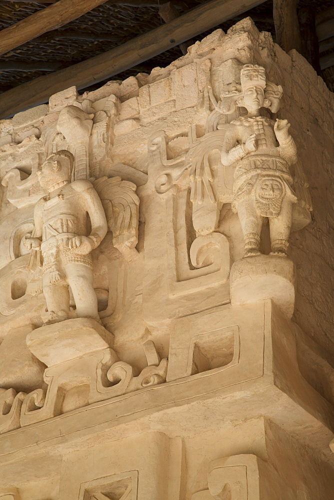 Stucco sculpture, Tomb of Ukit Kan Lek Tok, Mayan Ruler, The Acropolis, Ek Balam, Mayan archaeological site, Yucatan, Mexico, North America