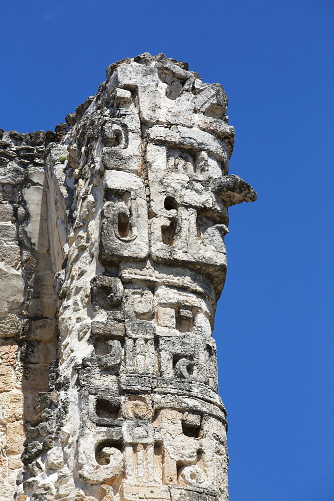 Chac Rain God, Dzibilnocac (Painted Vault) Temple, Dzibilnocac, Mayan archaeological ruins, Chenes style, Campeche, Mexico, North America