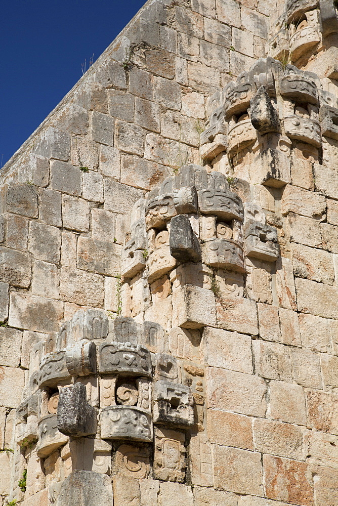 Chac Rain God stone masks, Pyramid of the Magician, Uxmal, Mayan archaeological site, UNESCO World Heritage Site, Yucatan, Mexico, North America