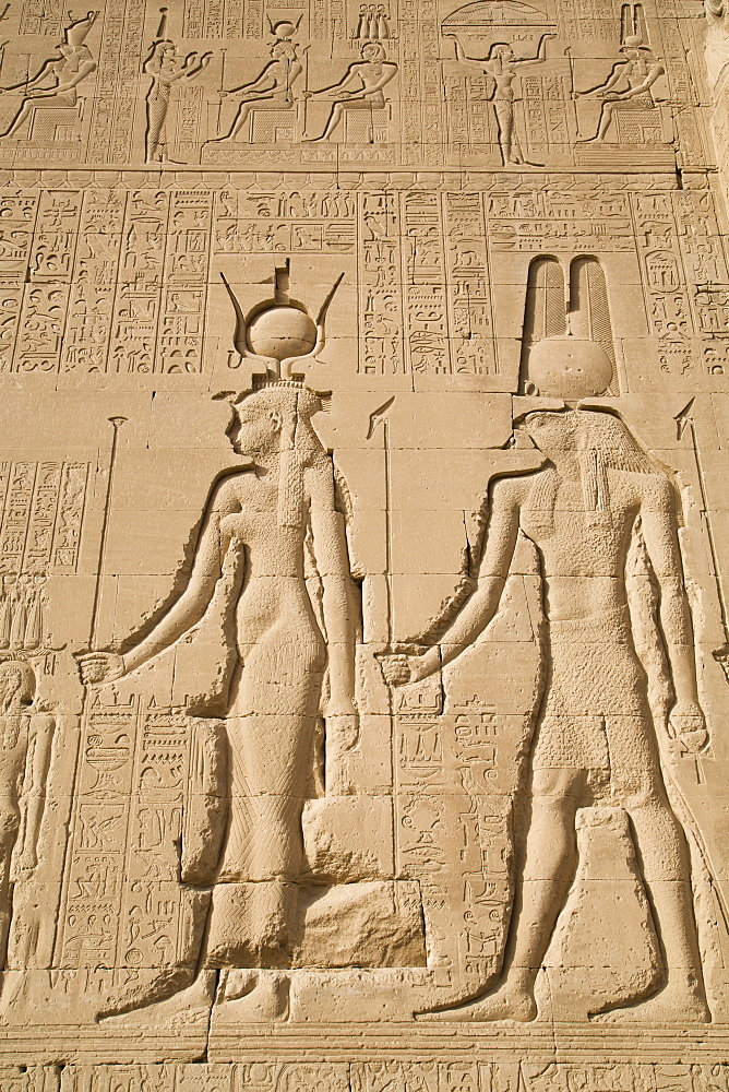 Relief of Cleopatra and Horus, Temple of Hathor, Dendera, Egypt, North Africa, Africa