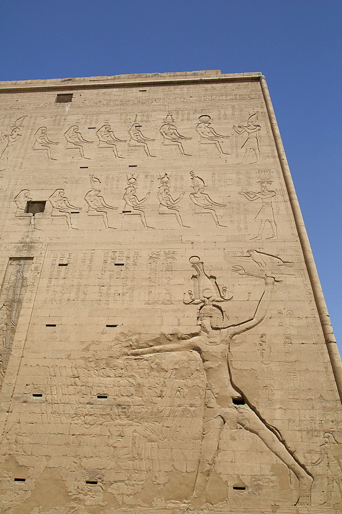 Relief depicting the Pharaoh slaying enemies, Pylon, Temple of Horus, Edfu, Egypt, North Africa, Africa
