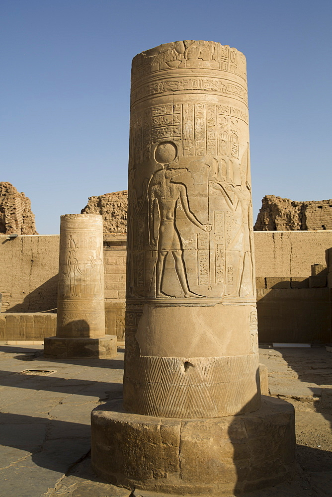 Pillars with bas-relief of the God Sobek, Forecourt, Temple of Haroeris and Sobek, Kom Ombo, Egypt, North Africa, Africa