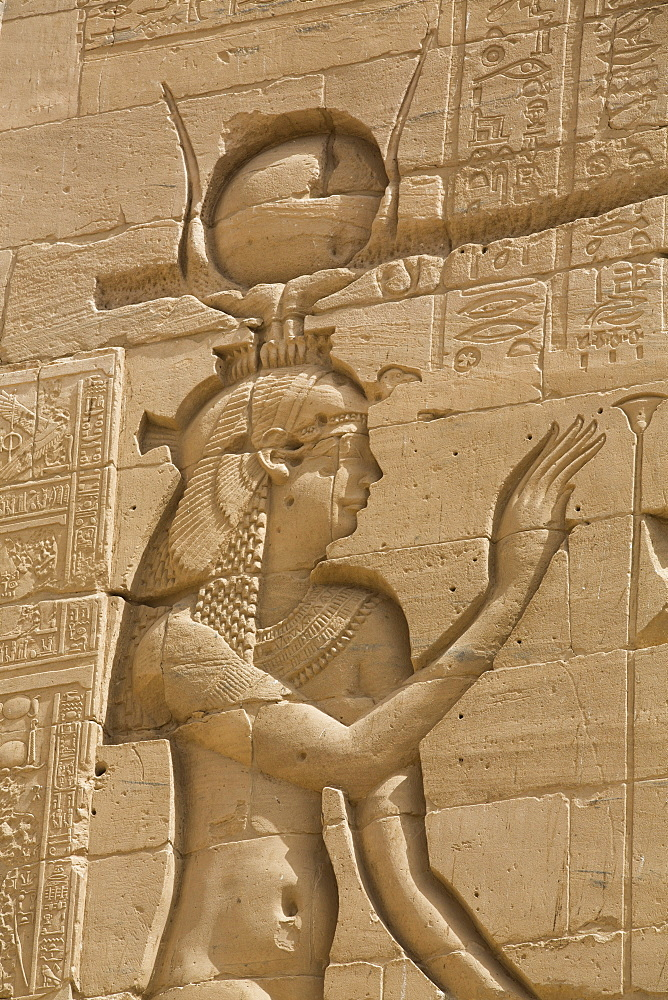 Relief depicting the Goddess Hathor, Second Pylon, Temple of Isis, Island of Philae, UNESCO World Heritage Site, Aswan, Egypt, North Africa, Africa