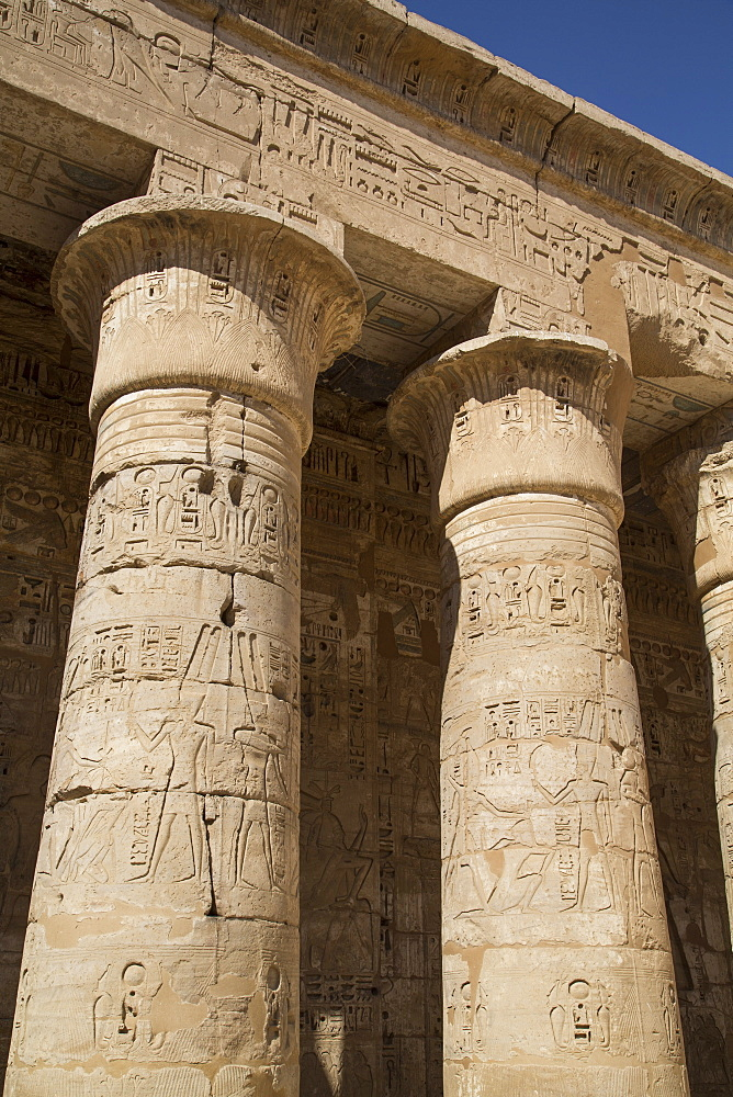 Columns of the Second Court, Medinet Habu (Mortuary Temple of Ramses III), West Bank, Luxor, Thebes, UNESCO World Heritage Site, Egypt, North Africa, Africa