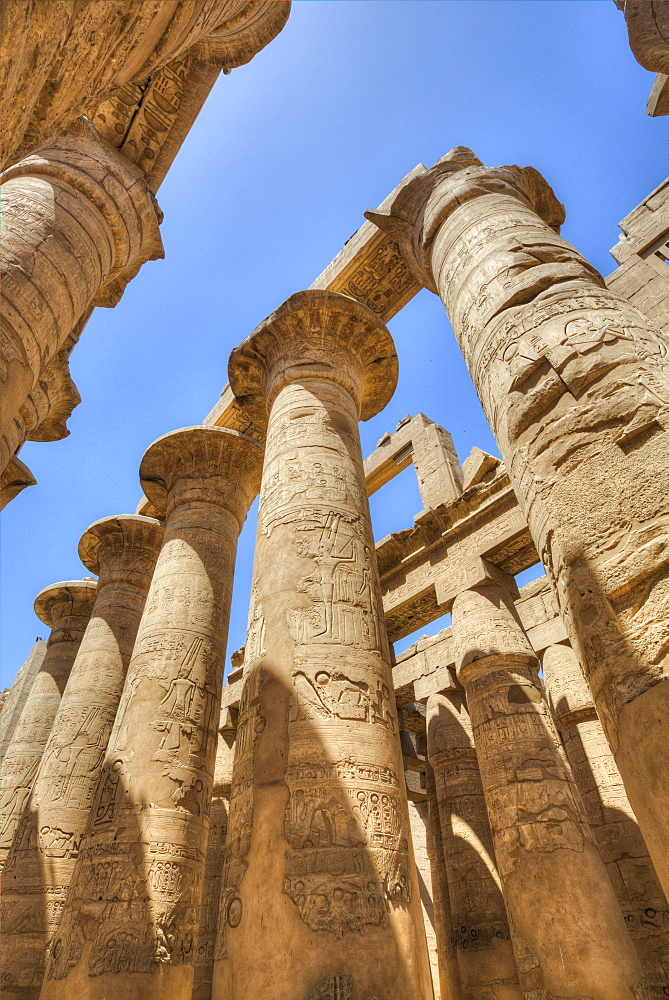 Columns in the Great Hypostyle Hall, Karnak Temple, Luxor, Thebes, UNESCO World Heritage Site, Egypt, North Africa, Africa
