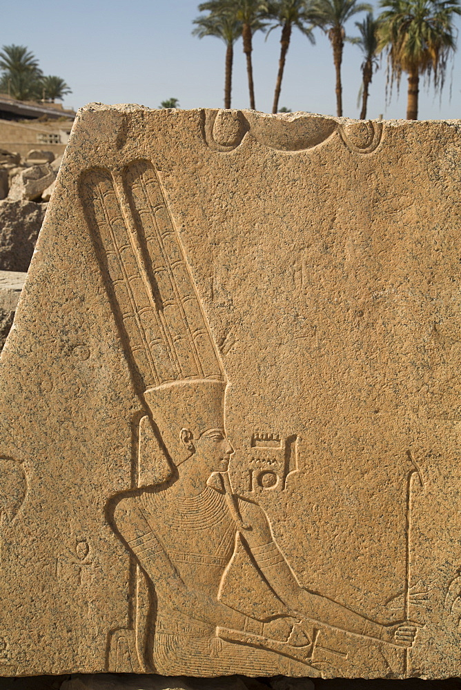 Bas-relief of the God Amun, Karnak Temple, Luxor, Thebes, UNESCO World Heritage Site, Egypt, North Africa, Africa