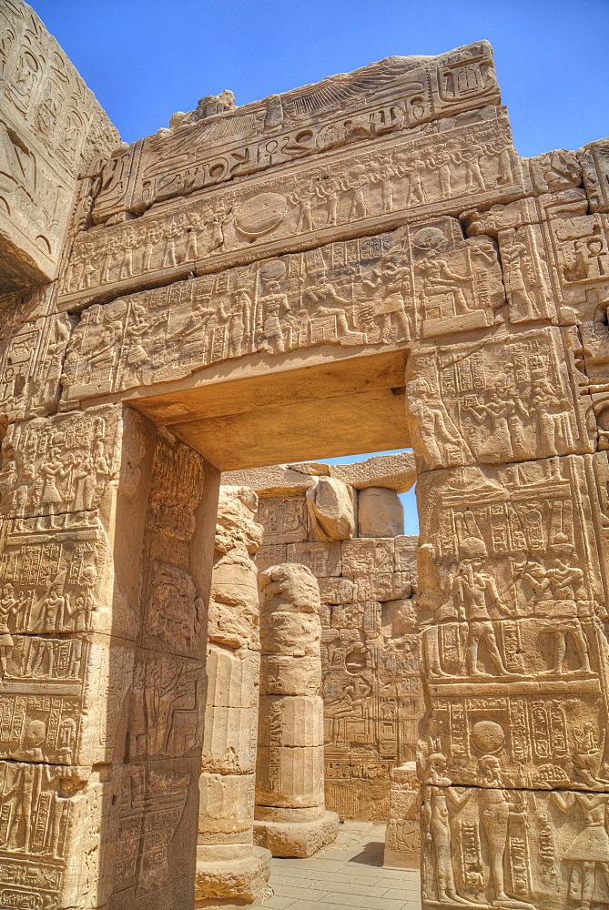Doorway in the Temple of Khonsu, Karnak Temple, Luxor, Thebes, UNESCO World Heritage Site, Egypt, North Africa, Africa