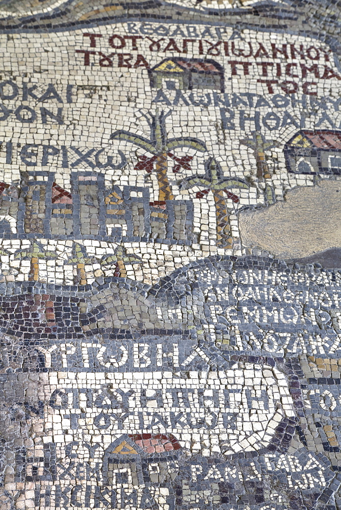 Oldest map of Palestine, mosaic, dated AD 560, St. George's Church, Madaba, Jordan, Middle East