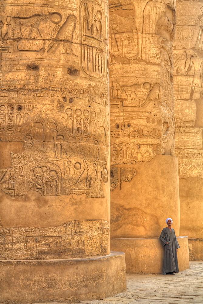 Local Man, Columns in the Great Hypostyle Hall, Karnak Temple, Luxor, Egypt