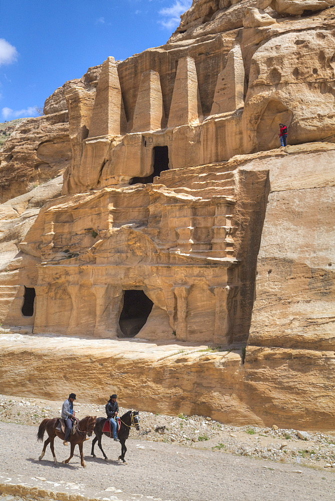 Local Men on Horses, Obelisk Tomb (upper structure), Bab-as Sig Triclinium (lower Structure), Petra, Jordan