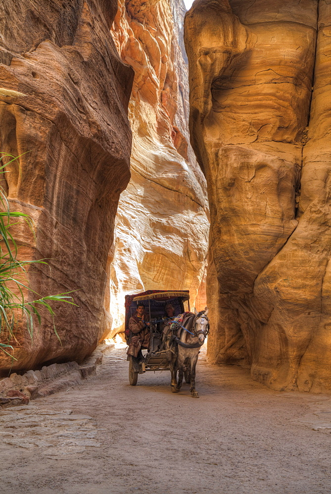 Horsecart in the Siq, Petra, UNESCO World Heritage Site, Jordan, Middle East