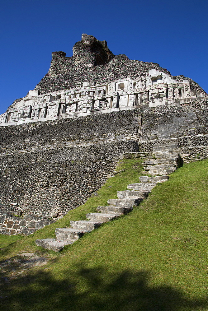 Stucco Frieze, Castillo, Xunantunich Mayan Ruins, outside San Ignacio, Belize, Central America