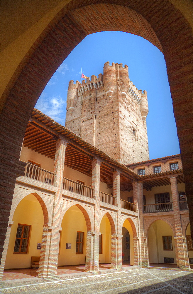 View from Inner Courtyard, Castle of La Mota, built 12th century, Medina del Campo, Valladolid, Castile y Leon, Spain, Europe