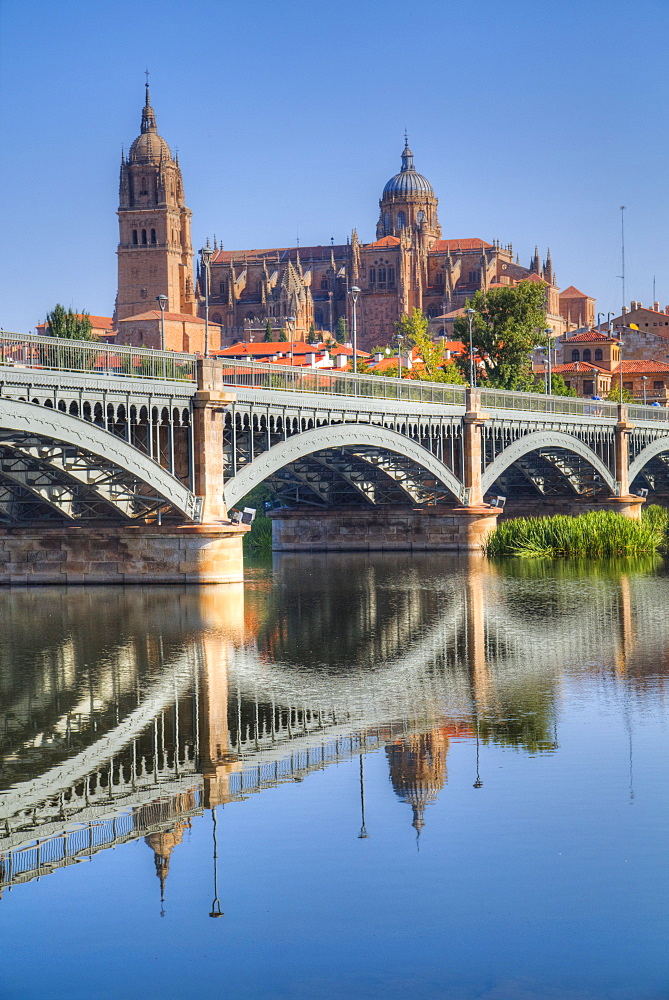 Enrique Estavan Bridge in foreground, Cathedral of Salamanca, Salamanca, UNESCO World Heritage Site, Castile y Leon, Spain, Europe