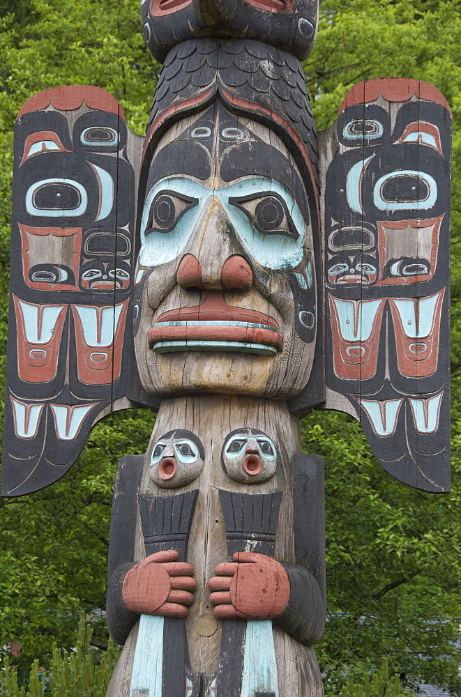 Tlingit Chief Johnson Totem Pole, Ketchikan, Alaska, United States of America, North America