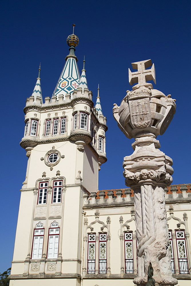 Upper Part of Gothic Fountan in foreground with Town Hall Tower in background, Sintra, UNESCO World Heritage Site, Portugal, Europe